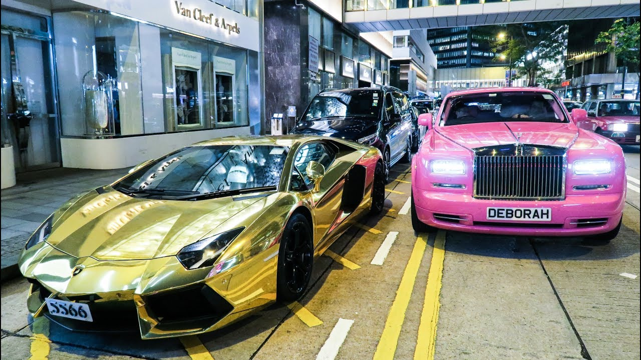Golden Lamborghini Aventador And Pink Rolls Royce Phantom. Amazing  Supercars Of Hong Kong