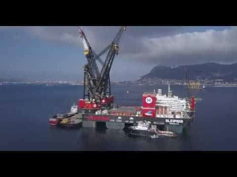 Biggest crane vessel in the world. Heerema's new Sleipnir in Gibraltar