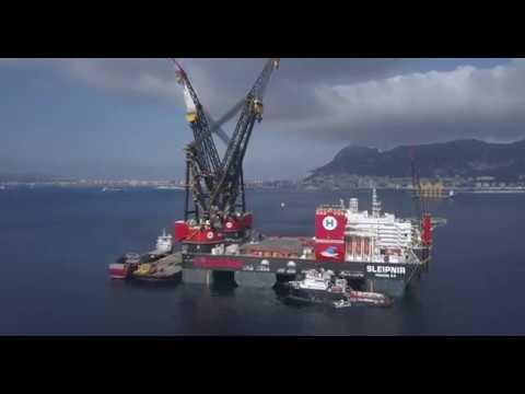 Biggest crane vessel in the world. Heerema's new Sleipnir in Gibraltar