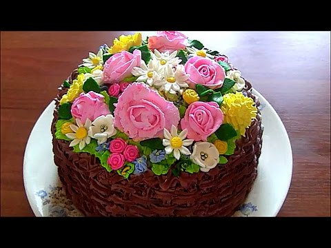 Торт.корзина с цветами