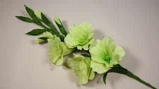 Гладиолусы из бумаги.  Мастер-класс. Цветы из гофрированной бумаги.