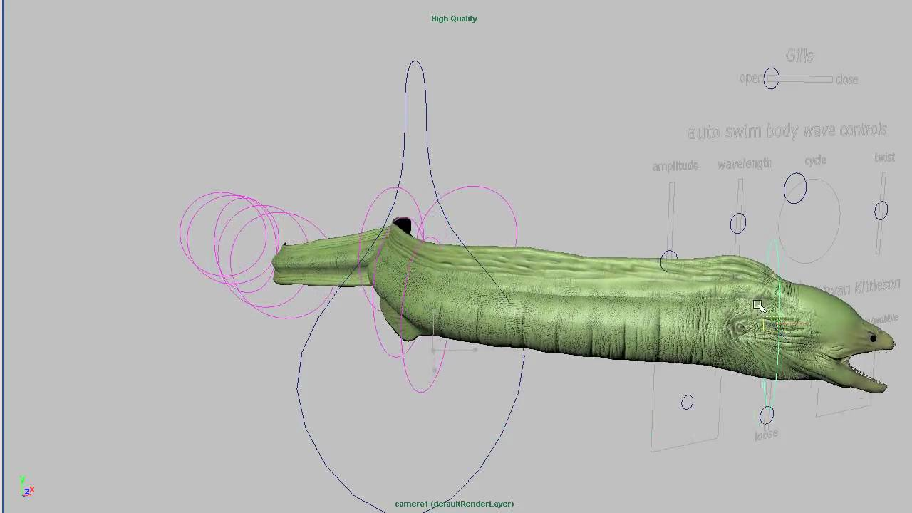 hight resolution of moray eel 3d rigged model
