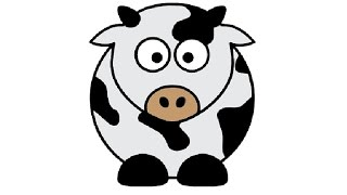 cartoon cow easy drawing simple draw step drawings paintingvalley