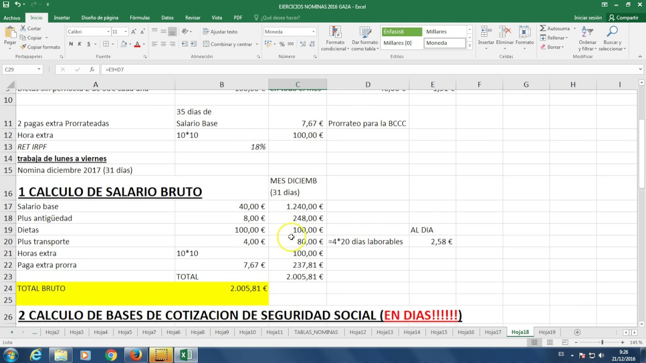Ejercicio nomina de retribuci n diaria 2017 youtube for Calculo nomina semanal excel 2016