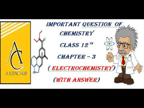 ELECTROCHEMISTRY 1 MARKS IMPORTANT QUESTION WITH ANSWER