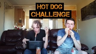 HOT DOG SWALLOWING CHALLENGE  *VOMIT ALERT* | AVJ CHALLENGES