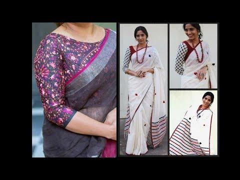 16 Trendy Linen Saree Blouse Designs | Linen Saree Matching Blouse