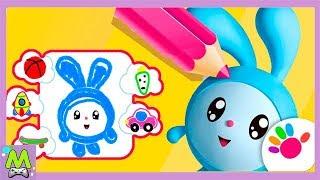 Малышарики Рисование для Детей.Оживающая Раскраска с Малышами-Смешариками.Геймплей Игры