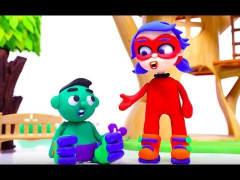 ROLLER SUPERHERO BABIES Play Doh Stop Motion and Cartoons For Kids Superhero Babies - 동영상