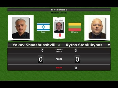 Snooker Masters Groups : Yakov Shaashuashvili vs Rytas Stani
