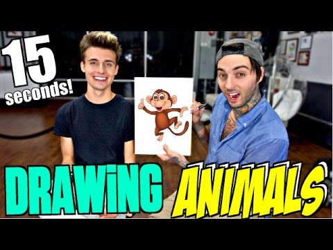 15 second BLINDFOLD Drawing Challenge!! (ft. Chris Collins)