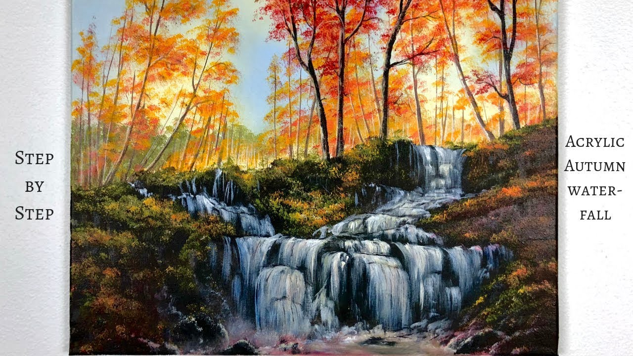Autumn Waterfall Step By Step Acrylic Painting