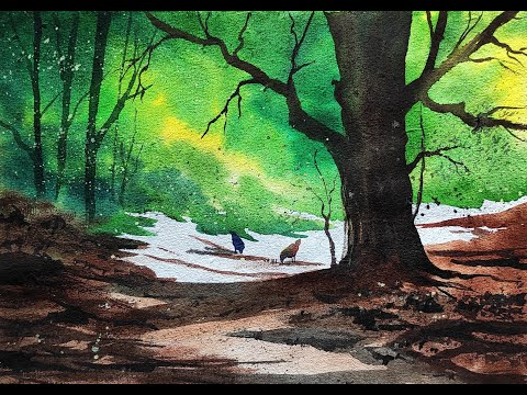 Watercolor painting of beautiful tree landscape painting for beginners | Paint with David