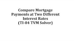 Compare Mortgage Payments at Two Different Interest Rates (TI-84 TVM Solver)