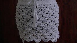 Вязание летней ажурной юбки крючком.Knitting summer openwork crochet skirt.
