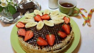 Торт без выпечки с банановым кремом и шоколадом. Простой рецепт.