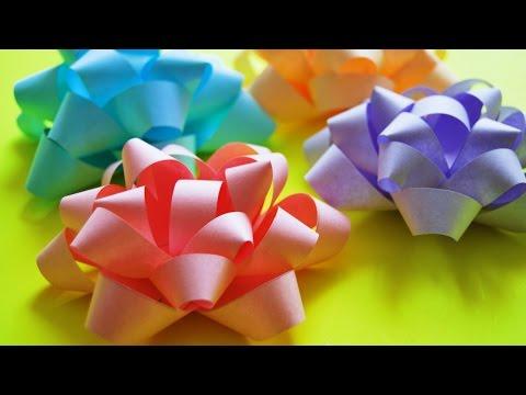 Подарочный БАНТ из БУМАГИ своими руками / DIY Paper Bow /  NataliDoma смотреть в хорошем качестве