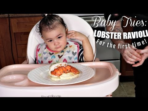 BABY TRIES: HOMEMADE LOBSTER RAVIOLI & LOBSTER TAIL FOR THE FIRST TIME! | BABY MUKBANG