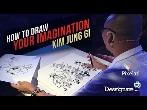 How to draw your imagination - Kim Jung Gi monumental artwork at Pixelatl Fest : Dessignare Tv