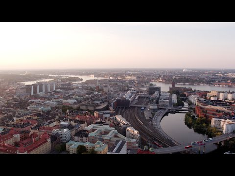3348. Stockholm City Drone Stock Footage Video