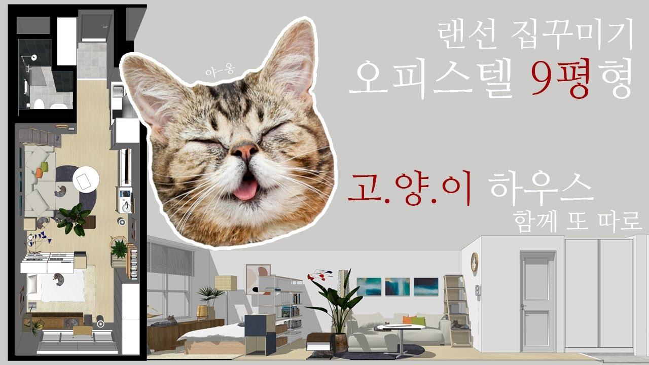 고양이와 함께하는 오피스텔 9평 랜선 집꾸미기!