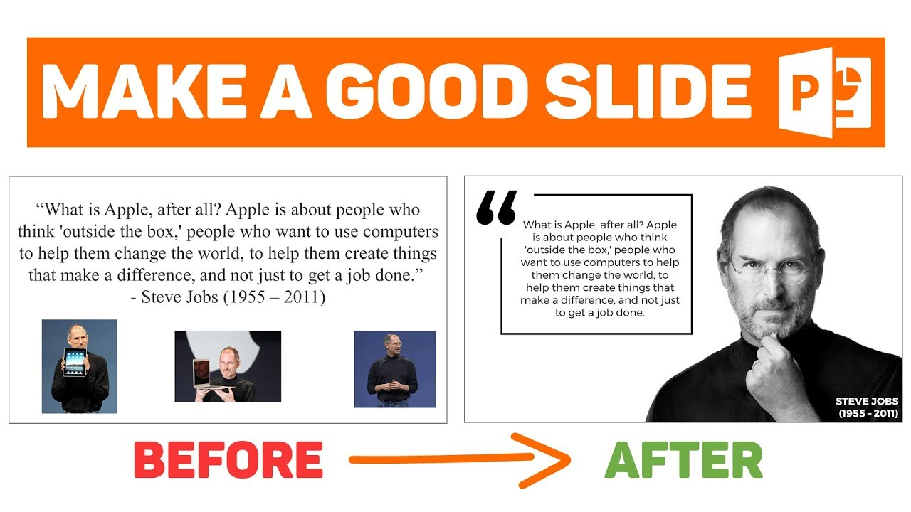 powerpoint tutorial design a good slide episode 2 quote ft steve jobs - Jobs That Make A Difference In The World