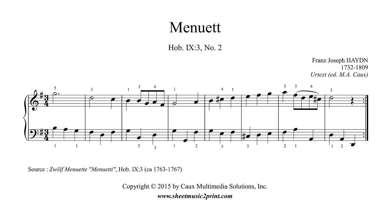 Haydn Minuet In G Major Hob Ix3 No 2