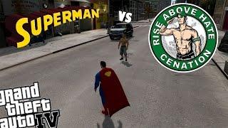 GTA 4 WWE John Cena Mod vs Superman Mod - THE CHAMP IS HERE!