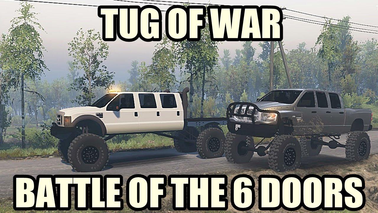MEGA RAM RUNNER VS SUPER SIX F550 TUG OF WAR SPIN TIRES Diesel Brothers