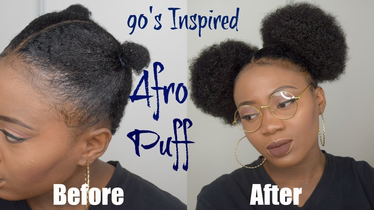 90s/70s inspired afro puff tutorial   natural hairstyles + giveaway