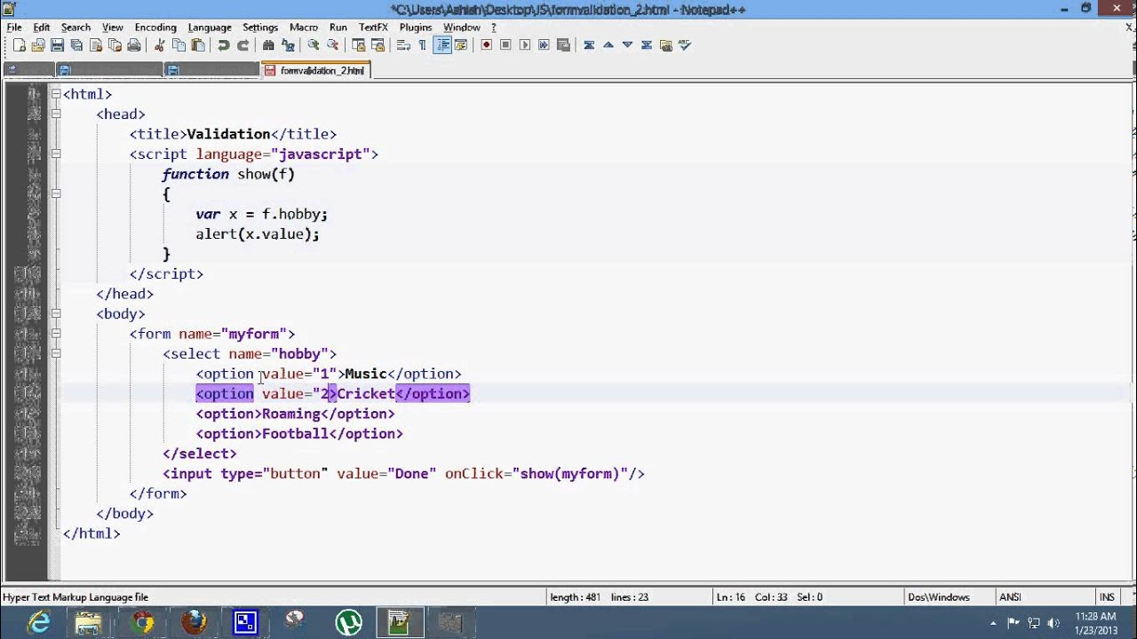 JavaScript List Example [ Select and Option ] - YouTube
