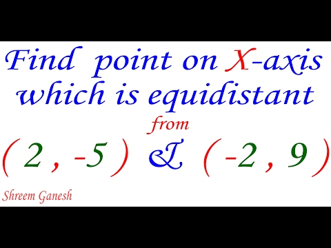 Find The Point On The X-axis Which Is Equidistant From (2,-5) &  (-2,9)