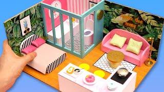 DIY Miniature Cardboard House #26   bathroom, kitchen, bedroom, living room for a family