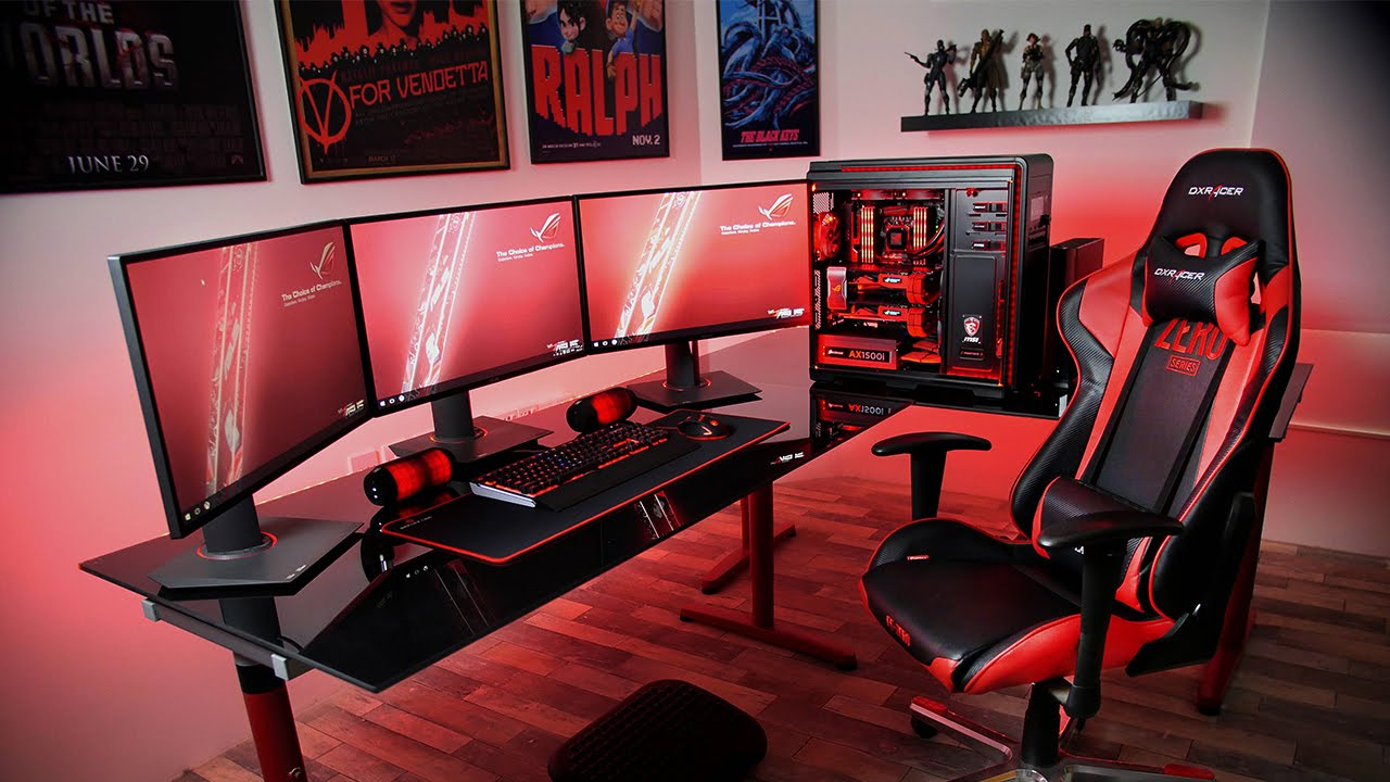 Ultimate Gaming Desk Setup Best Ever Youtube