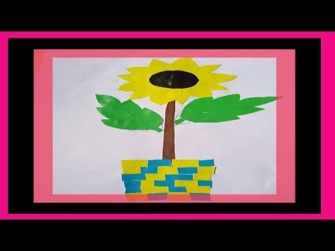 Belajar Cara Membuat Kolase Bunga Matahari Origami Youtube