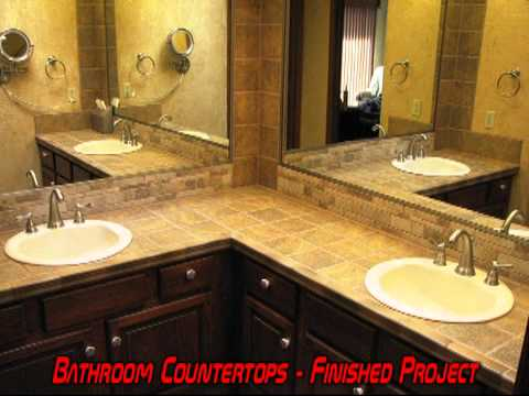 Bath Bathroom Vanity Tile Countertop Remodel Grout