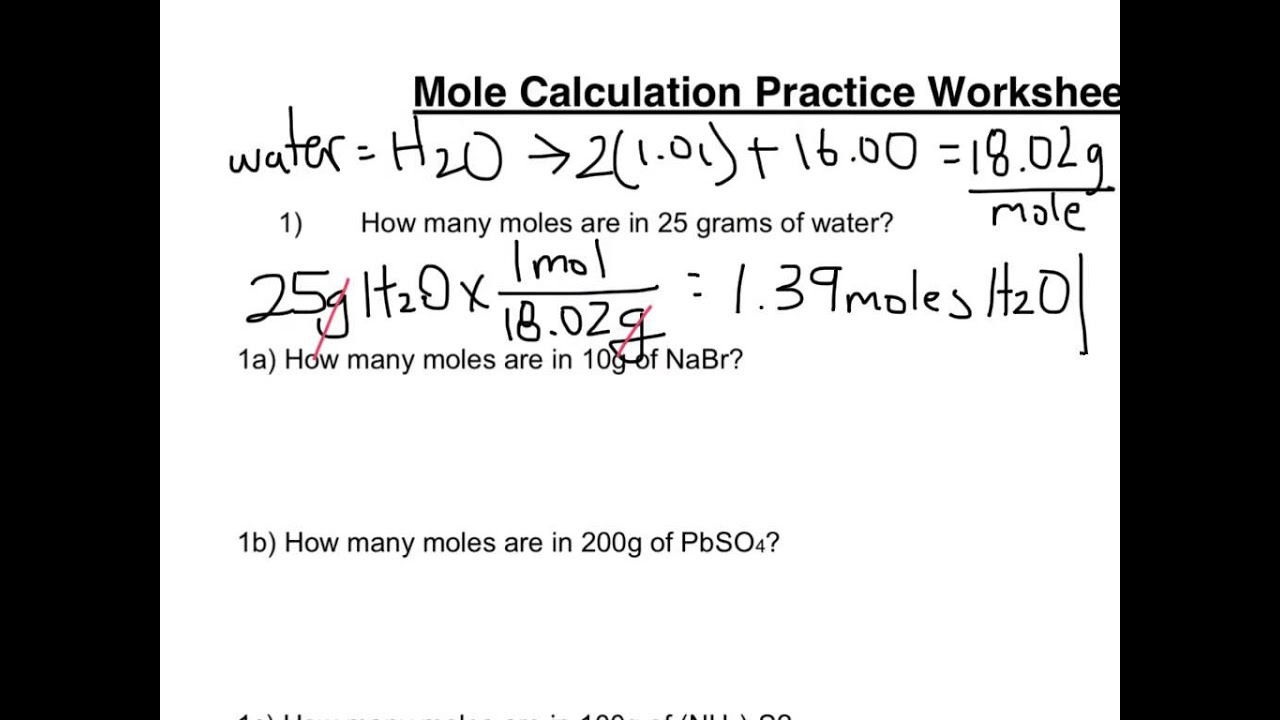 Worksheets Grams Moles Calculations Worksheet mole calculation worksheet part 1 youtube 1