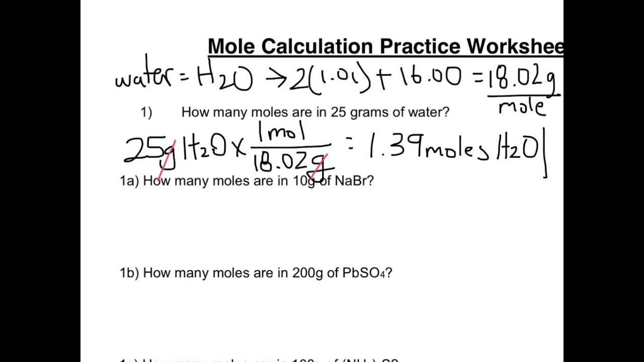 Mole calculation worksheet part 1 - YouTube
