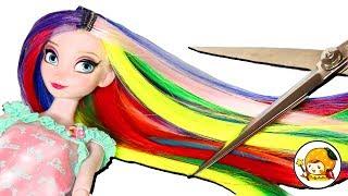 バービーのヘアサロンでDisney princessのエルサが面白い髪型にされちゃ...