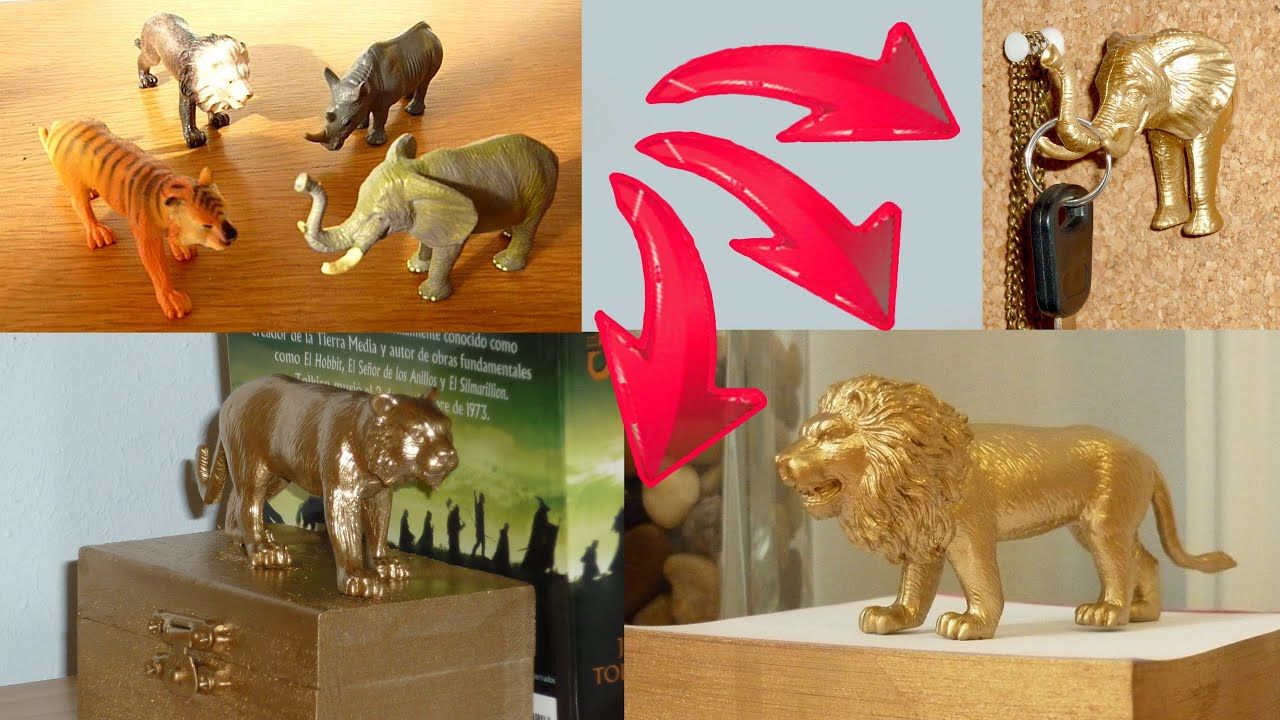 DIY ROOM DECOR ❤ 3 ideas upcycling plastic animal toys with spray ...