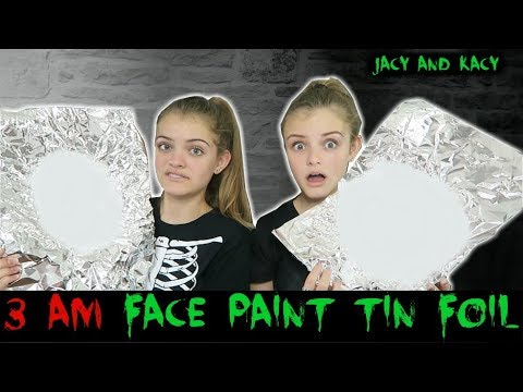 Thumbnail: 3 AM Face Paint Tin Foil Challenge ~ Halloween Series 2017 ~ Jacy and Kacy