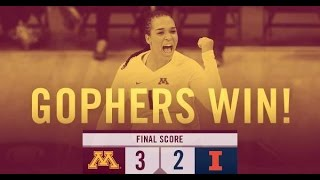 Highlights: Gopher Volleyball Takes Down No. 7 Illinois