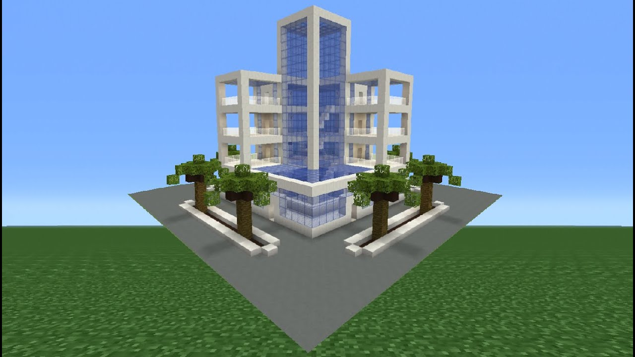 minecraft tutorial how to make a modern hotel youtube
