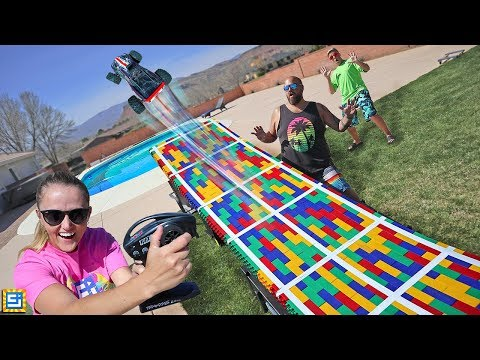IMPOSSIBLE DIY RC TRUCK JUMP In Our Backyard! GIANT LEGO Project!