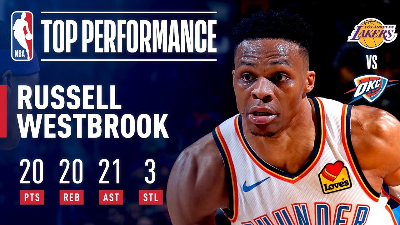 Russell Westbrook joins Wilt Chamberlain and himself with 20 ...