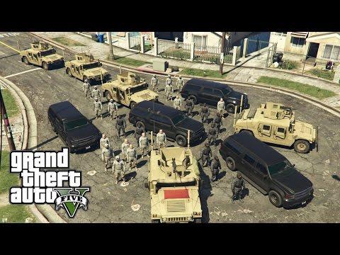 GTA 5 - Military ARMY Patrol #7 - Hood Raid (Convoy)