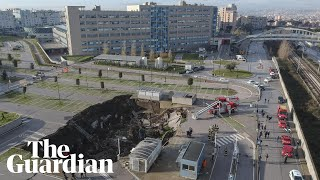 Drone footage shows huge sinkhole in Naples hospital car park