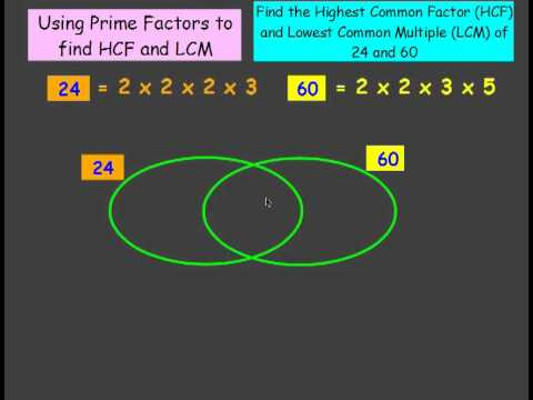 Using Prime Factors To Find Hcf And Lcm With Venn Diagram