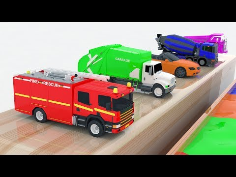 Thumbnail: Learn Color for kids with Street Vehicles Changing Colors - Colours for Kids Learning Videos