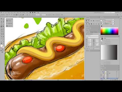 Hot dog vector illustration. Creation process and uploading to stock agencies.